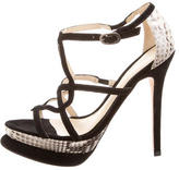 Alexandre Birman Python-Accented Sandals w/ Tags