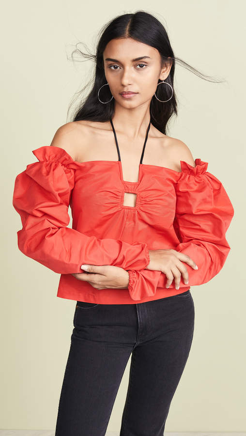 Hellessy Halter Top with Gathered Sleeves