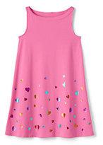 Lands' End Girls Plus Graphic Knit Tank Dress-Rainbow Foil Hearts