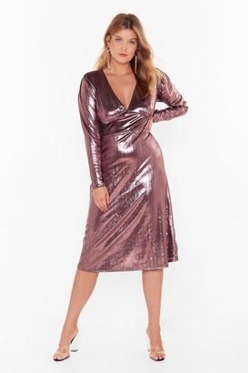 Nasty Gal Womens Should of Sheen Me Plus Metallic Midi Dress - Black - 16