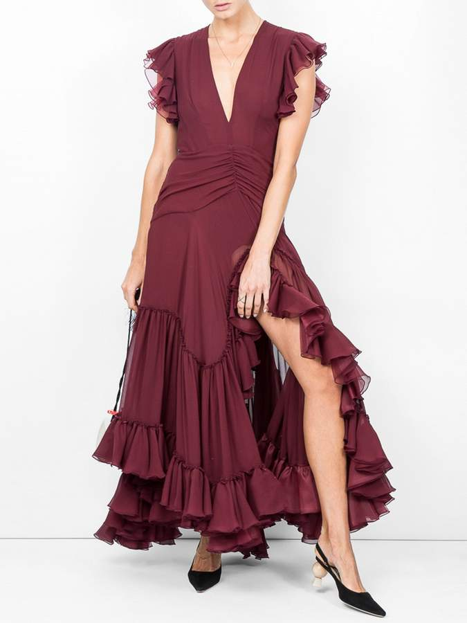 Giambattista Valli Deep v-neck silk-georgette gown