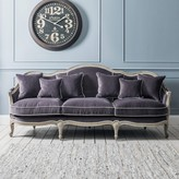 Graham and Green Chateau Grey Velvet Three Seat Sofa