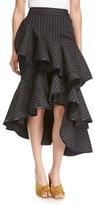 Johanna Ortiz Beduina Pinstripe Wool Flounce Skirt