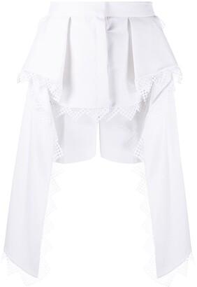 Alexander McQueen Peplum Lace-Trimmed Shorts