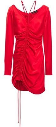 David Koma Ruched Satin Mini Dress
