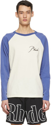 Rhude Off-White and Blue Logo Raglan Long Sleeve T-Shirt