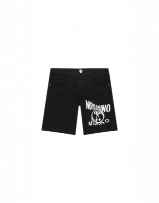Moschino Distorted Double Question Mark Shorts Man Black Size 4a It - (4y Us)