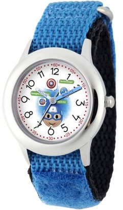 Marvel Emoji Kids' Captain America Stainless Steel Time Teacher Watch, Blue Hook and Loop Nylon Strap with Black Backing