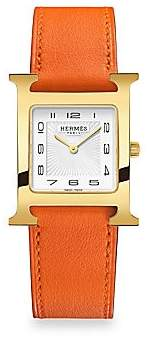HERMÃS Women's Heure H 26MM Goldplated & Leather Strap Watch