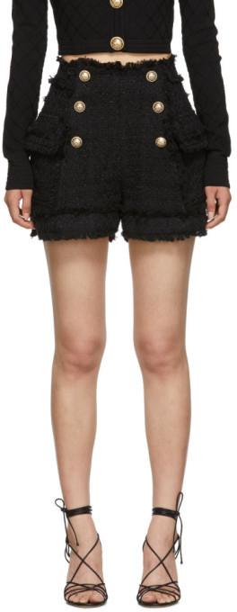 Balmain Black Tweed Double-Breasted Shorts