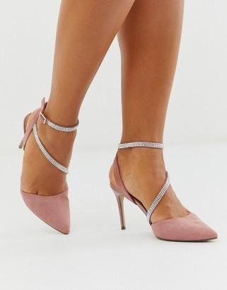 New Look rhinestone strap detail stiletto in light pink