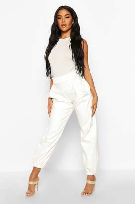 boohoo Elasticated Waist Leather Look Jogger