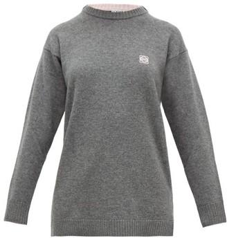 Loewe Anagram-embroidered Wool Sweater - Womens - Grey