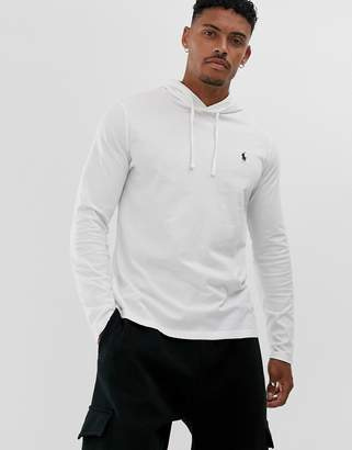 Polo Ralph Lauren player logo hooded long sleeve top in white