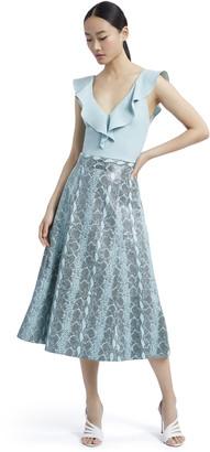 Alice + Olivia Sosie Leather Midi Skirt