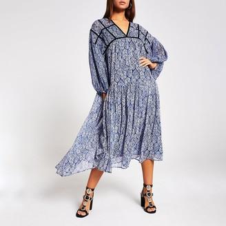 River Island Blue printed smock midi dress