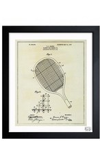 Oliver Gal 'Tennis Racket Blueprint' Framed Print