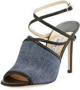 Jimmy Choo Flora Strappy Denim Sandals