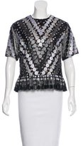 Marco De Vincenzo Lace Overlay Short Sleeve Top