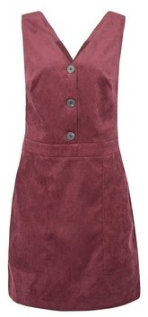 Dorothy Perkins Womens Vila Burgundy Corduroy Button Pinafore Dress