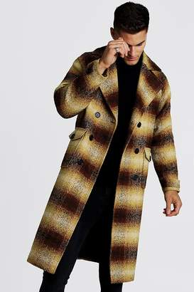 boohoo Longline Check Double Breasted Overcoat