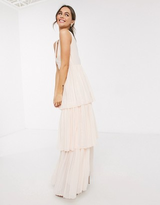 Little Mistress tiered maxi dress in blush
