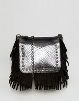 Urban Code Urbancode Real Leather Fringed Cross Body Bag with Silver Emobossed Croc