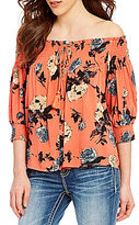 Miss Me Off-The-Shoulder Smocked Floral-Printed Top