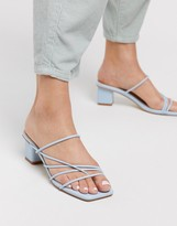 Z Code Z Z_Code_Z Dalia strappy block heeled sandals in pale blue