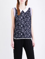 Clu Embroidered lace panel stretch-cotton top