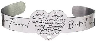 12mm Heart Cuff Bracelet by Pink Box BEST FRIEND SILVER