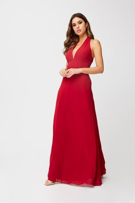 Little Mistress Blaire Scarlet Halterneck Maxi Dress