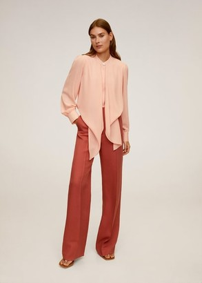 MANGO Flowy long shirt peach - 4 - Women