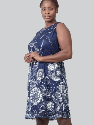 M&Co Izabel Curve eastern print lace shift dress