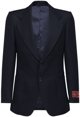 Gucci Label Single Breast Wool Jacket