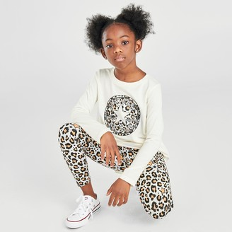 Nike Girls' Little Kids' Converse Leopard Chuck Taylor Patch T-Shirt and Allover Print Leggings Set