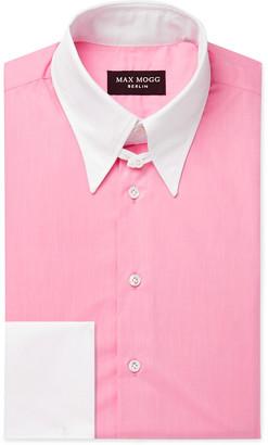 Maximilian Mogg Pink Contrast-Trimmed Cotton-Zephyr Shirt