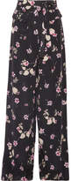 Valentino Floral-print Silk Crepe De Chine Wide-leg Pants - Black