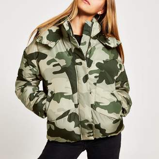 River Island Womens Grey camo quilted puffer jacket
