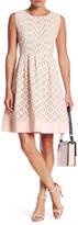 Eliza J Lace Pleated Waist Flare Dress