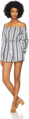 Cupcakes And Cashmere Women's Amani Embroidered Off The Shoulder Romper