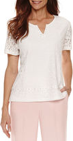 Alfred Dunner Rose Hill Short Sleeve Lace Texture T-Shirt-Petites