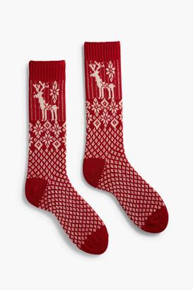 Lisa B Red Reindeer Crew Socks