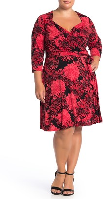 Leota 3/4 Sleeve Sweetheart Mock Wrap Dress (Plus Size)