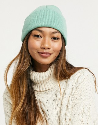 ASOS DESIGN deep turn up beanie hat in sage
