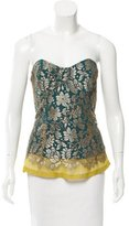 Lela Rose Lace-Accented Bustier Top