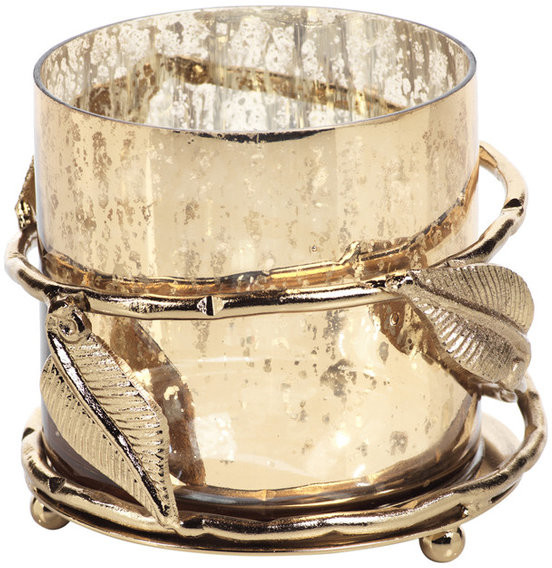 Zodax Three Tier Dragonfly Glass Votive Decorative Candle Holder Gold