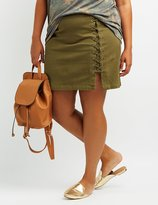 Charlotte Russe Plus Size Lace-Up Mini Skirt