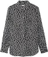 Equipment Slim Signature Printed Washed-silk Shirt - Leopard print