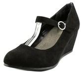 Jellypop Emlynne Women Open Toe Canvas Black Wedge Heel.